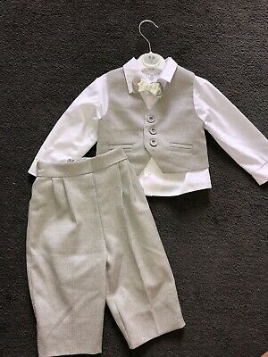 £13.50 • Buy Baby Boy 6-9 Months 4piece Smart Grey Christening Suit Set With Shirt & Bow Tie