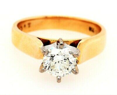 AU7992.60 • Buy Diamond Solitaire Ring 18ct Yellow & White Gold Engagement/Wedding Jewellery