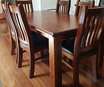AU275 • Buy Solid Timber Dining Table And 6 Chairs