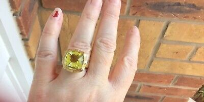 £29.99 • Buy Large Cocktail Citrine Gold Wash Silver Ring TJC Beautiful Size P 1/2 STUNNING