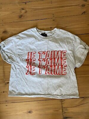 £7 • Buy Topshop Graphic Tee Grey Marl Cropped Je T'aime T-shirt Size S Small
