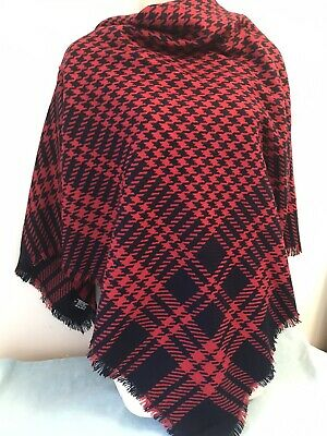£5 • Buy Warm Large Winter Square Scarf,  Houndstooth Check, Blue, Red. Made In Italy