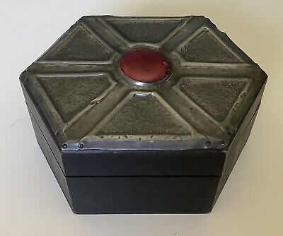 £12 • Buy Arts & Crafts Wooden Box With Pewter And Red Ruskin Lid, Original