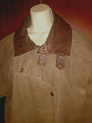 $73.30 • Buy Outback Trading Co Womens Oilskin L Coat Mens XL Brown Cotton Lined LEATHER