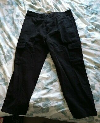 """£0.99 • Buy Atlantic Bay Black Cargo Trousers W36"""" L29"""" NEVER WORN RRP £20 From BHS"""