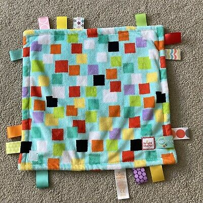 £9.99 • Buy Bright Starts Taggies Comforter Soother Soft Toy Baby Ribbons Tags Green Squares