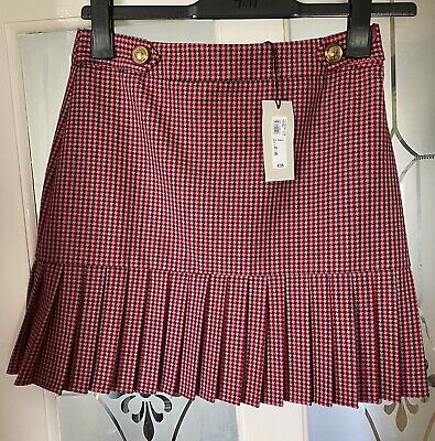 £0.99 • Buy River Island Pink Dog Tooth 80s Skirt Size 10 BNWT