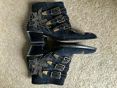£349 • Buy Authentic Chloe Susanna Studded Ankle Boots In Navy Suede Size UK 7/EU 40