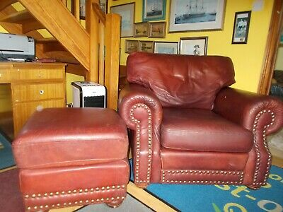 £195 • Buy Vintage Distressed Chesterfield Chair And Stool Genuine Thomas Lloyd Armchair