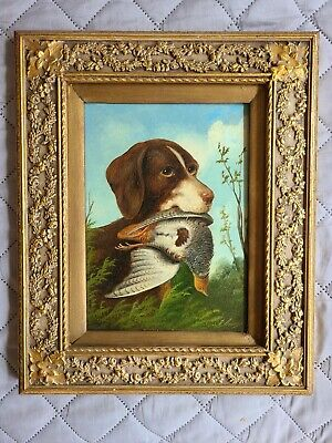£319.43 • Buy Antique MICHELANGELO MEUCCI Oil Painting Setter Dog Hunting Birds 19th Century