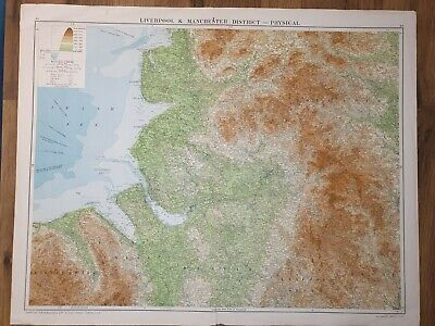 £6 • Buy Large Map Of Liverpool & Manchester District - Physical Uk