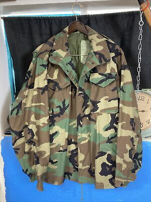 $70 • Buy US Army Military Cold Weather Woodland Camo M65 Field Jacket Large / Long