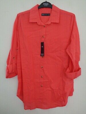 £12.99 • Buy Bnwt Ladies M&s Collection Range Long Sleeved Bright Coral Blouse/shirt Size 20