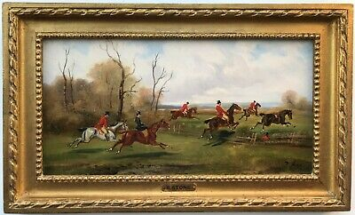 £625 • Buy R Stone (Alfred Steinacker) Antique Signed Oil Painting Fox Hunting Landscape 2