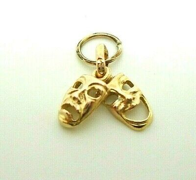 £27 • Buy 9ct Yellow Gold Hallmarked Comedy & Tragedy Theatre Masks Charm Free UK Shipping
