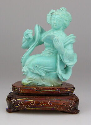 £9.42 • Buy Antique Chinese Carved Turquoise Statue Lady Figure Wood Stand 19th C.