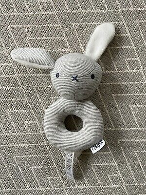 £2 • Buy Mamas And Papas Grey & White Striped Bunny Ring Rattle Soft Toy Comforter