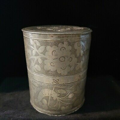 £48 • Buy Antique Chinese Pewter Incised Tea Caddy/Tobacco Jar