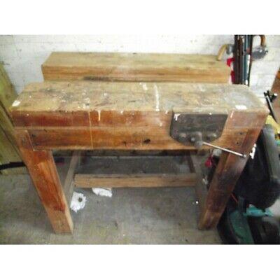 £250 • Buy Antique Wooden Workbench With Vice Industrial Kitchen Island / Rustic Workshop