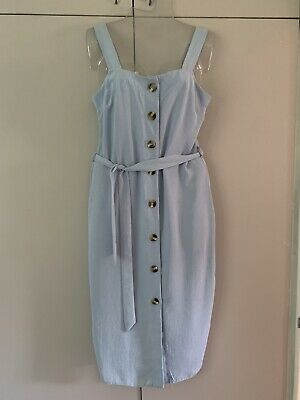 £11.99 • Buy New Look Blue Midi Summer Strappy Dress - Button Front Size 10
