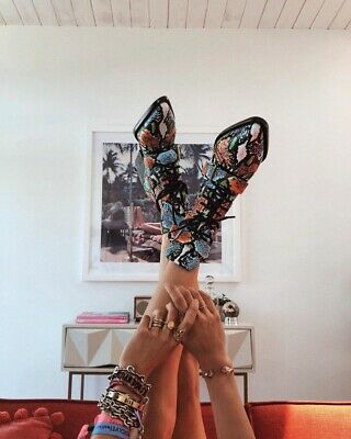 £249 • Buy CHLOÉ Rylee Colourful Snake Python Print Cut-Out Ankle Boots *NEW IN BOX* UK 5.5
