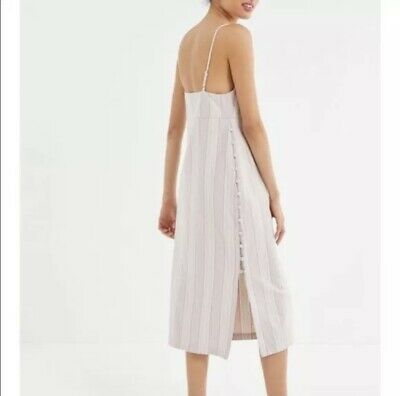 AU13.36 • Buy Urban Outfitters Sicily Linen Side Button Midi Slip Dress SP Small P Striped