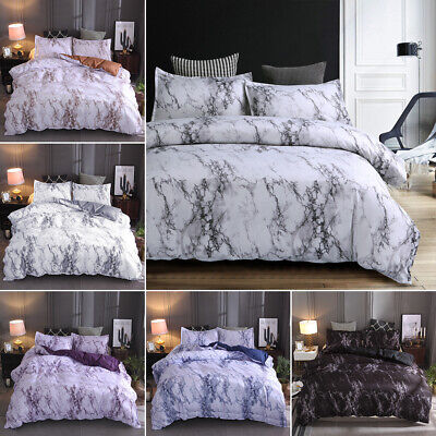 AU28.99 • Buy Doona Duvet Quilt Cover With Zipper Set Queen King Size Bed Marble Pillowcase