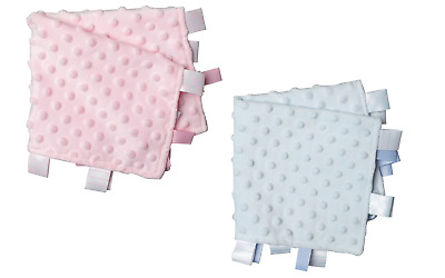 £3.20 • Buy Wholesale Job Lot Baby Toy Soft Ribbon Taggie Comforters Blue Pink X 4 BNWT