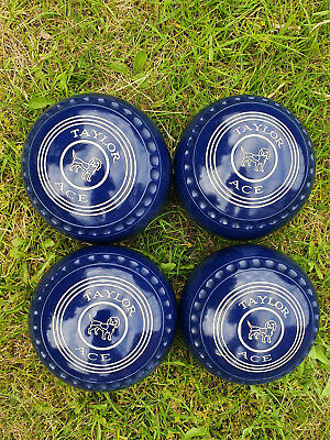 £75 • Buy Taylor Ace Bowls Size 4 Blue (WB Stamp 22) + Complimentary Prohawk Measure & Bag