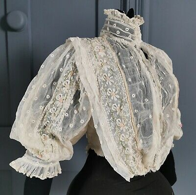 £50 • Buy Pretty Edwardian Antique / Early 1900s Floral Lace Dress Bodice