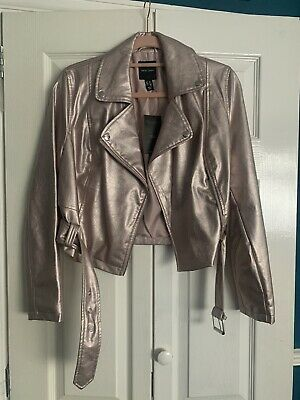 £12 • Buy BNWT New Look Faux Leather Jacket Metallic Pink Rose Gold Size 10