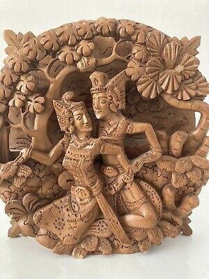 £7.50 • Buy Asian Hand Carved Wood Wall Plaque