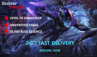 £2.25 • Buy League Of Legends EUW LOL Smurf 50.000+ BE IP Level30+ Unranked
