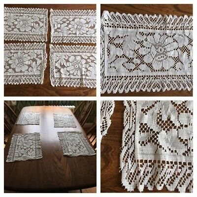 """£3 • Buy VINTAGE Lace Table Setting Set - 4 Place Mats Lace & Hand Embroidery 