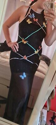 AU82.93 • Buy Emma Somerset Y2k Embroidered Butterfly Mesh Overlay Evening Dress Size 10/12