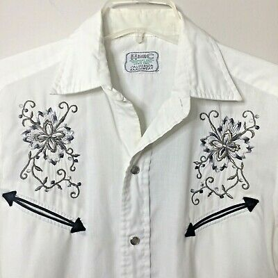 $31.96 • Buy VTG H BAR C Mens S WHITE SILVER BLACK EMBROIDERED L/S PEARL SNAP WESTERN SHIRT