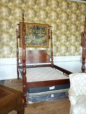 $1276 • Buy CRAFTIQUE Queen Size Solid Mahogany Rice Carved Poster Bed