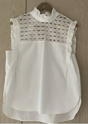 AU99.99 • Buy Scanlan And Theodore Cotton And Lace Sleevelss Blouse Size 10
