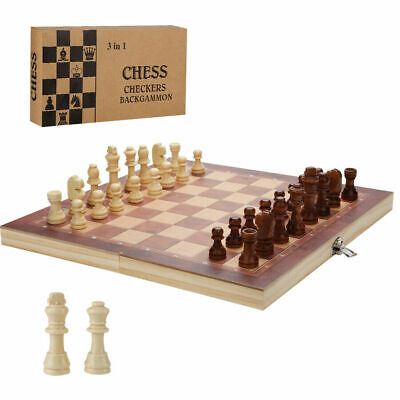 £8.69 • Buy Large Wooden Chess Set Folding Chessboard Pieces Wood Board Backgammon Kid Gift