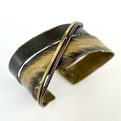 £12 • Buy Cuff Bangle Mixed Metals Modernist Brutalist Industrial Costume Jewellery