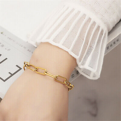 AU3.99 • Buy For Women Oval Delicate Wide Gold Plated Chain PaperClip Radial Link Bracelet