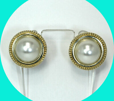 $450 • Buy Mabe Pearl Button Earrings 14K YG White 13.2 MM Ornate Etruscan Style