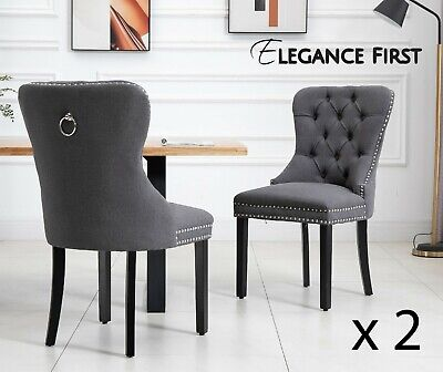 AU369 • Buy 2 X  Grey French Provincial Fabric Dining Chairs Upholstered Tufted Back Studs