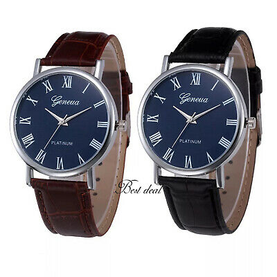 £5.99 • Buy Mens Watches Casual Quartz Analogue Fashion Wrist Watch Leather Black Brown UK