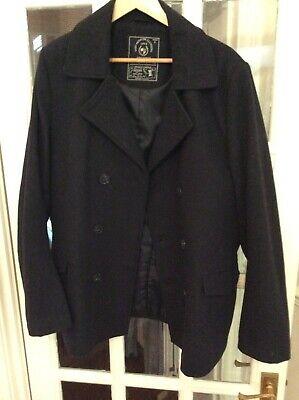 £23 • Buy Men's Pea Coat, Large, Black, Wool And Polyester, Used But Good Condition