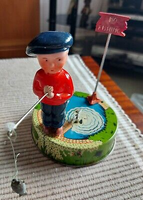 £75 • Buy Mettoy Billy The Fisherman Tinplate Clockwork Toy Circa 1950s Tested In Poor Box