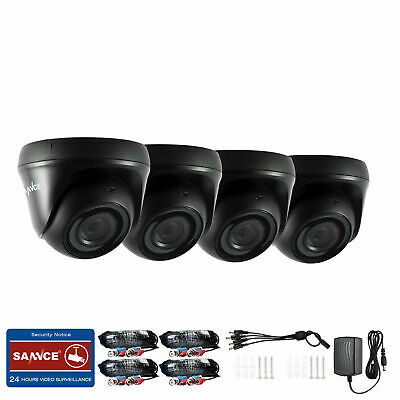 £58.99 • Buy SANNCE 4XBlack Dome HD 1080p Outdoor CCTV Camera IP66 Night Vision Security Kit