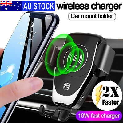 AU13.99 • Buy Qi Wireless Fast Charger Car Holder Stand Gravity Mount For IPhone 12 11 Pro X
