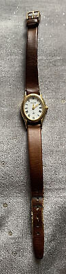 £10 • Buy Ladies Accurist Watch Oval Gold Tone Ls592 Brown Leather Strap New Battery