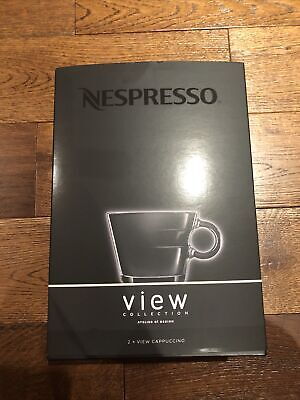 £4.90 • Buy NESPRESSO View Collection 2 Glass Cappuccino Coffee Cups & Metal Saucers BNIB